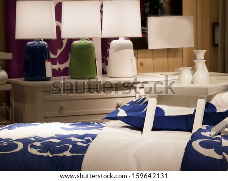 Bedding display at the retail store. - stock photo
