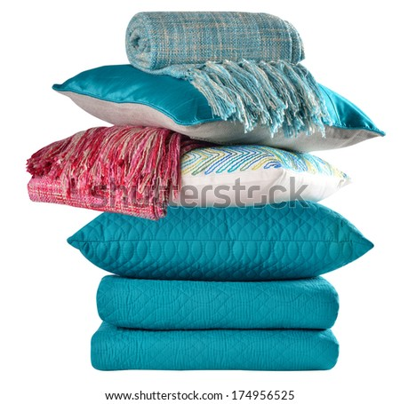 Bedding objects, pillow and bed spreads isolated. - stock photo