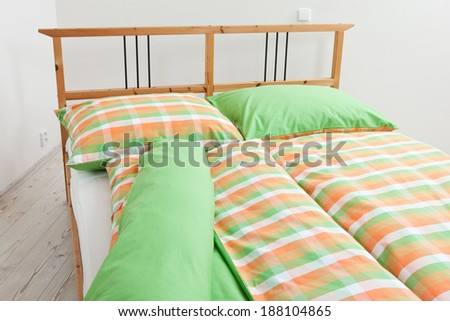 bedding on bed / colorfull  incrustation on bed - stock photo