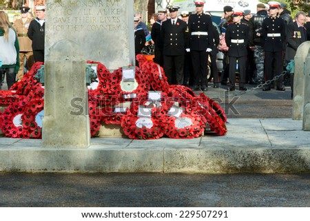 BEDFORD, ENGLAND  NOVEMBER 2014: Remembrance Day Parade - Memorial with poppy rings, shown on 9 November 2014 in Bedford - stock photo