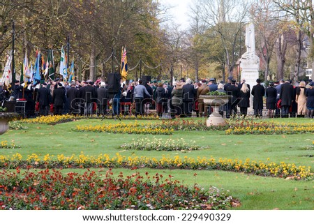 BEDFORD, ENGLAND  NOVEMBER 2014: Remembrance Day Parade - veterans paying their respects, shown on 9 November 2014 in Bedford - stock photo