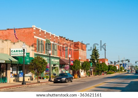 BEDFORD, OH - JULY 25, 2015: With many old buildings over a century old, this southeastern Cleveland suburb retains its small-town-America atmosphere. - stock photo