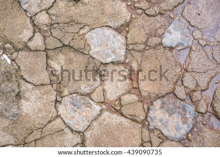 Bedrock is on the pathway in the garden for background - stock photo