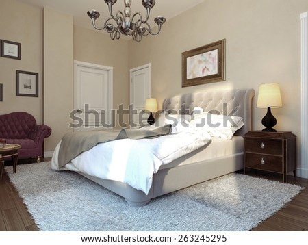 Bedroom art deco style, 3D render