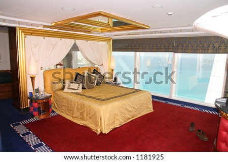 Bedroom at Burj al Arab - stock photo