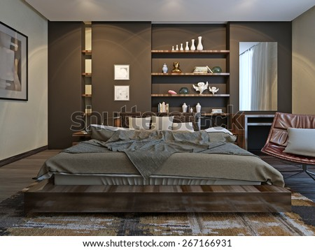 Bedroom Contemporary style, 3D render