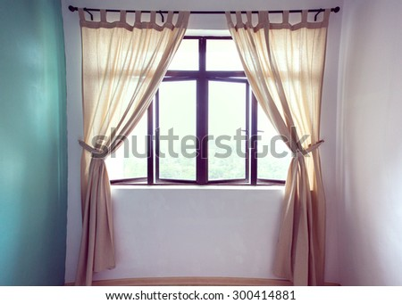 Bedroom curtain vintage for customer. - stock photo