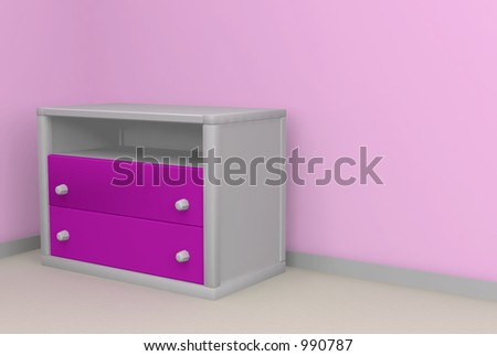 bedroom 3d render with space for message - stock photo
