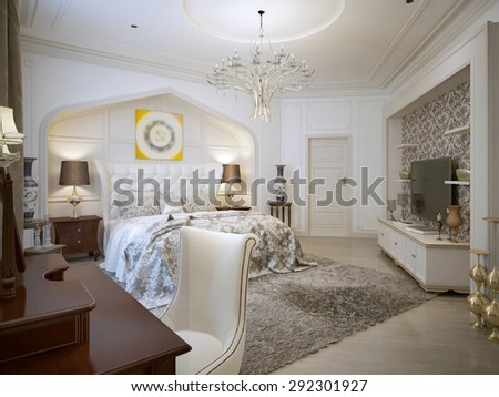 Bedroom Design In Arabic Style With Bright Colors. 3d Visualization