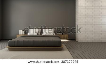 Bedroom design modern & Loft - 3D render - stock photo