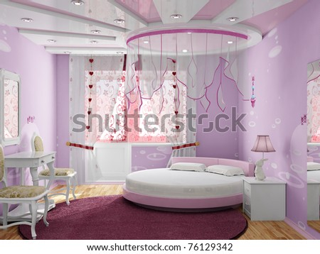 Bedroom for the girl - stock photo