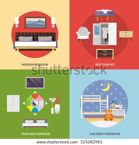 bedroom furniture design concept set with modern feng shui children flat icons isolated illustration bedroom furniture feng shui
