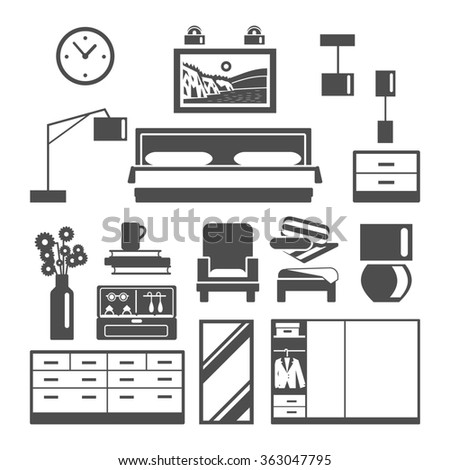 Bedroom Furniture Icons Set - stock photo