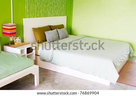 Bedroom green - stock photo