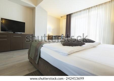 bedroom hotel apartment interior  - stock photo