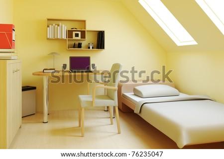 Bedroom in attic or loft - stock photo
