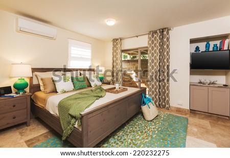 Bedroom in Contemporary Home, Interior Design   - stock photo
