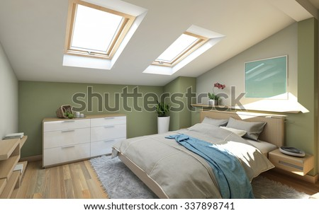 Bedroom in Green On The Attic  3d Rendering - stock photo