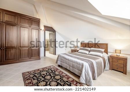 Bedroom in minimalism style - stock photo