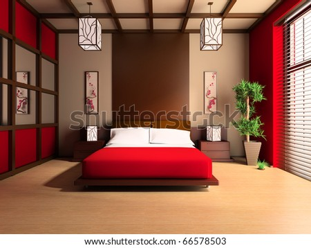 Bedroom in modern style 3d image - stock photo