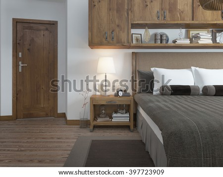 Bedroom in modern style with a bedside table. Room in brown and white colors. on the door type. 3D render. - stock photo