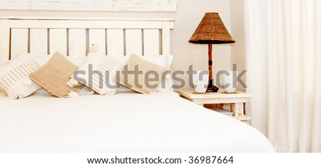 Bedroom in natural colours - stock photo