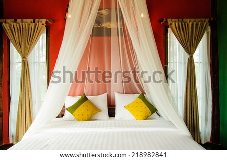 bedroom in resort Beautiful - stock photo