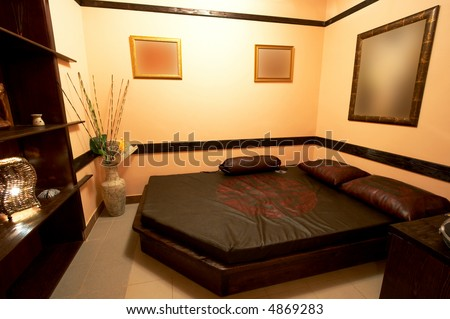 Bedroom in the Japanese style in modern hotel - stock photo
