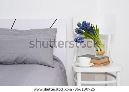 bedroom interior closeup - stock photo