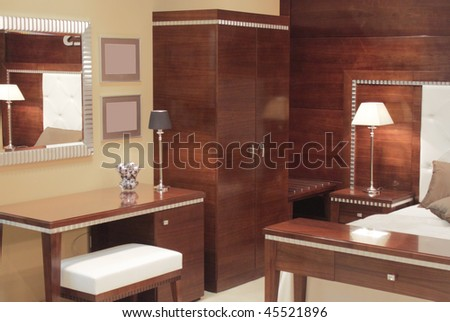 Bedroom interior design. - stock photo