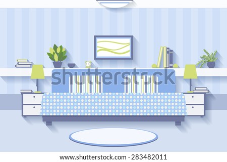 Bedroom interior design. Apartment and indoor comfortable, luxury and lamp - stock photo