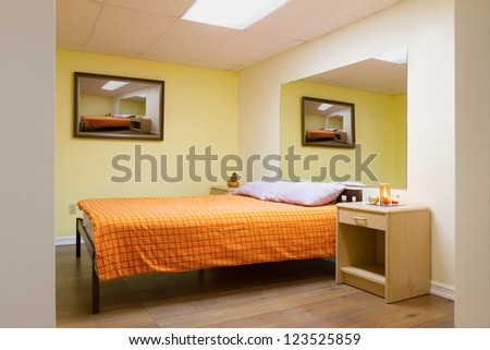 Bedroom Interior design with furnishings in a new house. - stock photo