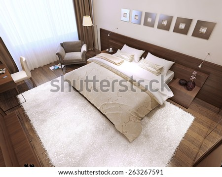 Bedroom interior high-tech style, 3d render - stock photo