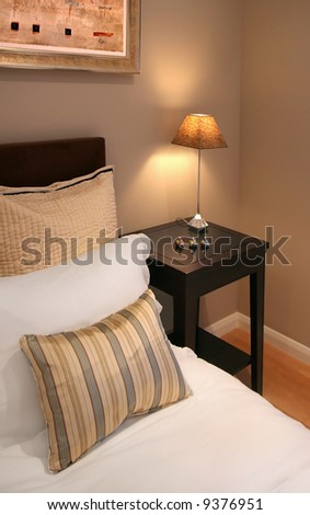 Bedroom interior in contemporary home - stock photo
