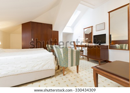 Bedroom interior in loft apartment