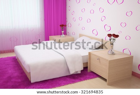 Bedroom interior made in light colors with light wood furnishings, pink carpet and curtains and wallpaper with hearts. 3d illustration - stock photo