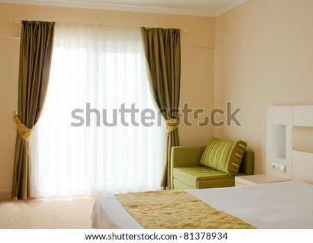 Bedroom. Interior of the hotel room - stock photo