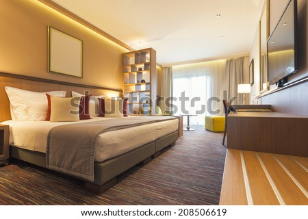 Bedroom interior the morning - stock photo
