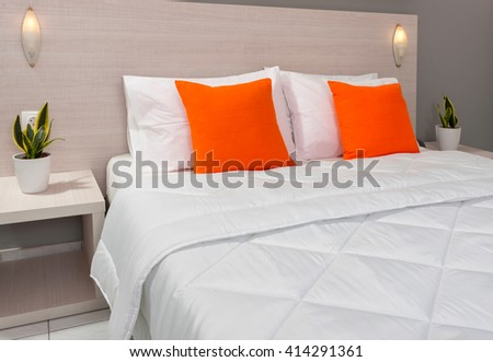 bedroom interior with decoration of a hotel