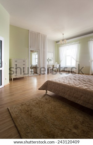 Bedroom interior with white curtains - stock photo