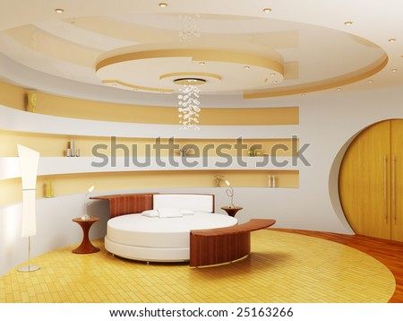 bedroom modern interior - stock photo