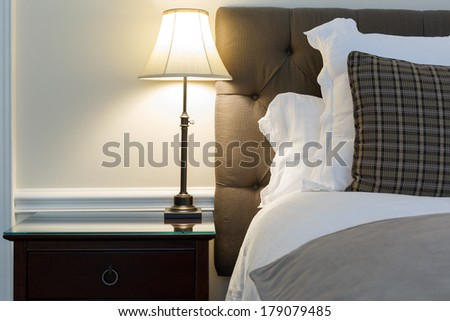 Bedroom modern interior with furnishings - stock photo