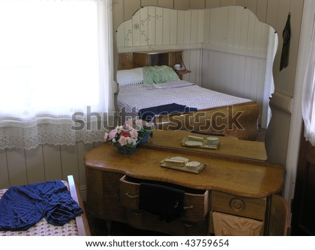 Bedroom of a 1960's Australian house. - stock photo
