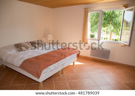 Bedroom on a modern house simple and spacious