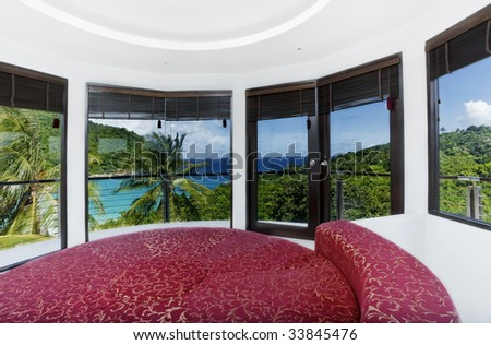 bedroom on the top sea view - stock photo