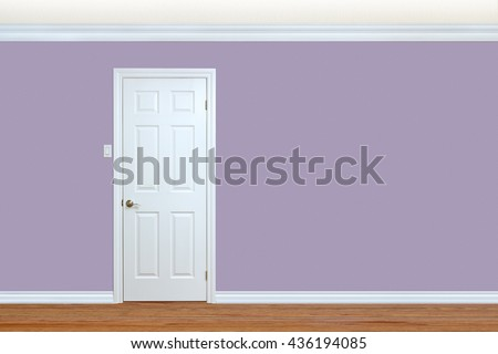 Bedroom wall with door, baseboard and crown molding with room for text - stock photo