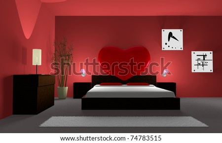 bedroom with a red heart - stock photo