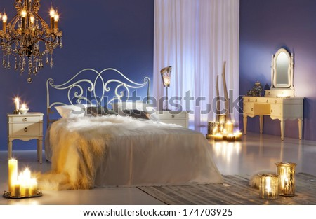 bedroom with candles - stock photo