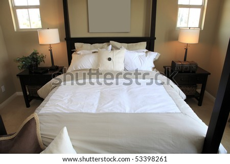 Bedroom with contemporary furniture and decor. - stock photo