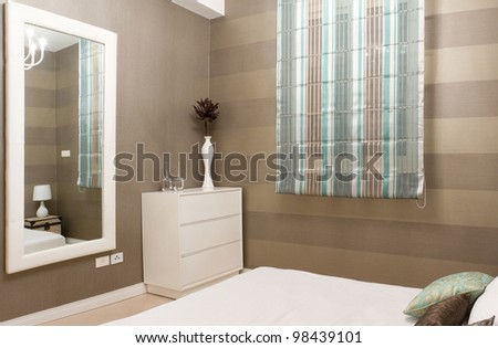 Bedroom with furnishings in a new house. - stock photo